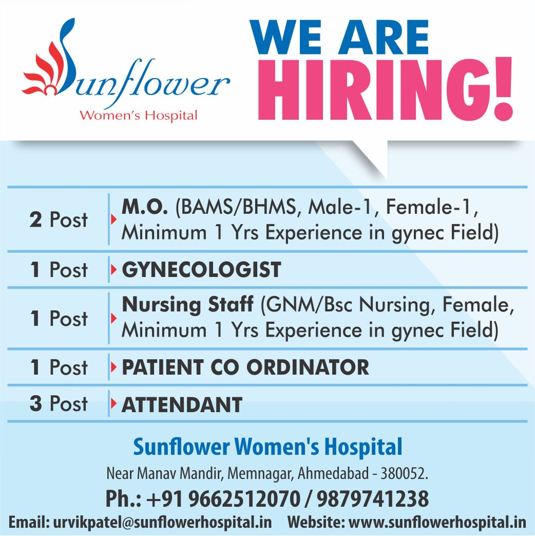 We are Hiring - Sunflower Hospital